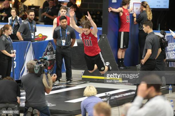 Filip Zadina completes the long jump test during the NHL Scouting Combine on June 2 2018 at HarborCenter in Buffalo New York