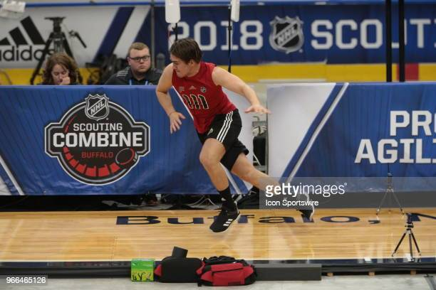 Filip Zadina completes the pro agility test during the NHL Scouting Combine on June 2 2018 at HarborCenter in Buffalo New York