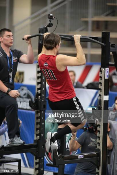 Filip Zadina completes the pull ups test during the NHL Scouting Combine on June 2 2018 at HarborCenter in Buffalo New York