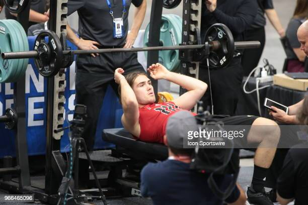 Filip Zadina completes the standing jump test during the NHL Scouting Combine on June 2 2018 at HarborCenter in Buffalo New York