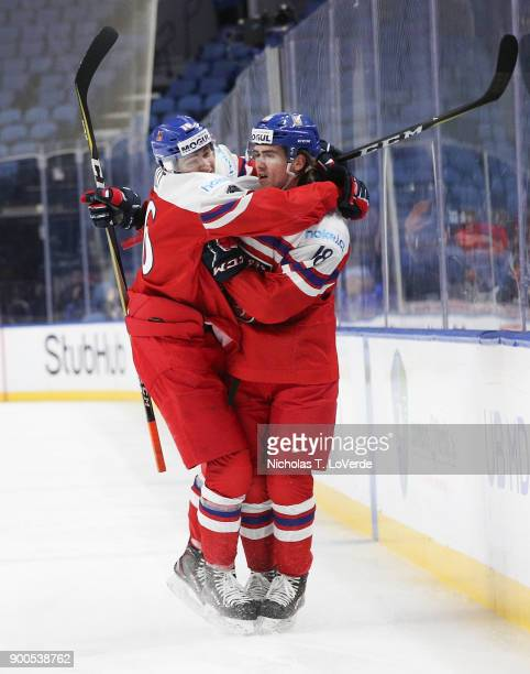 Filip Zadina of Czech Republic celebrates his first period goal with Martin Kaut during in the IIHF World Junior Championships Quarterfinal game at...