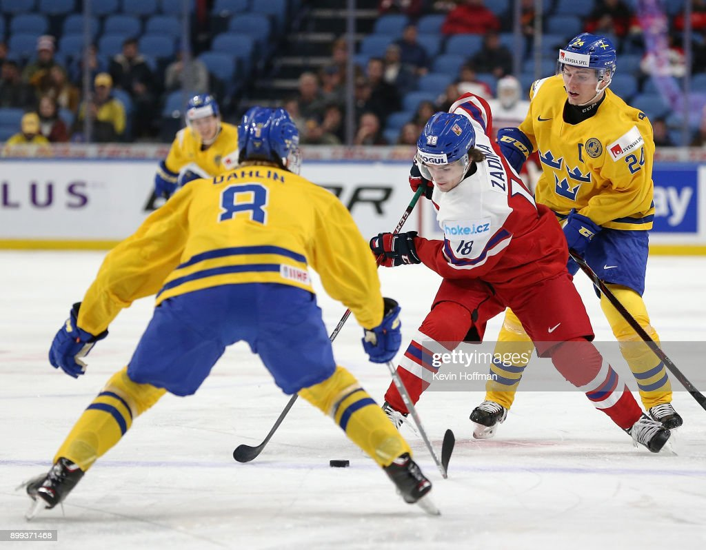 Filip Zadina #18 of Czech Republic skates up ice with the puck as Rasmus Dahlin #8 of Sweden defends in the second period during the IIHF World Junior Championship at KeyBank Center on December 28, 2017 in Buffalo, New York.