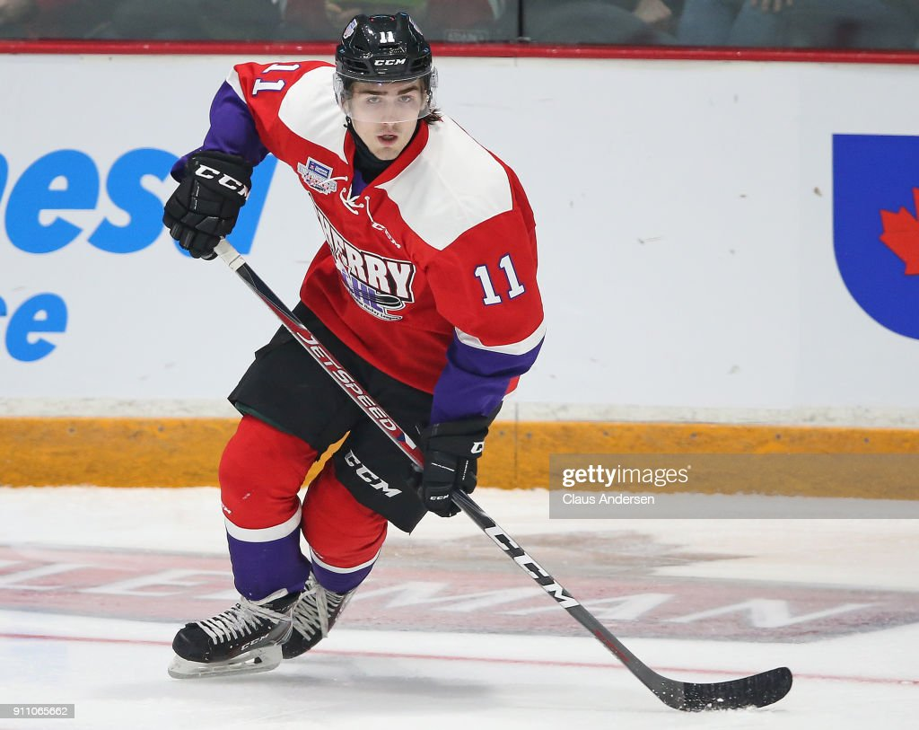 Filip Zadina #11 of Team Cherry skates against Team Orr in the 2018 Sherwin-Williams CHL/NHL Top Prospects game at the Sleeman Centre on January 25, 2018 in Guelph, Ontario, Canada. Team Cherry defeated Team Orr 7-4.