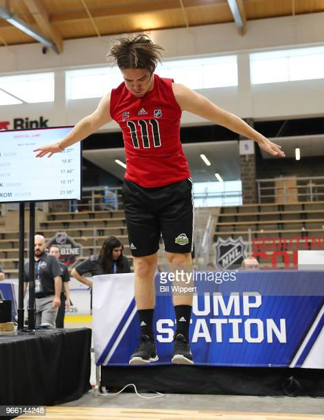 Filip Zadina performs at the jump station during the NHL Scouting Combine on June 2 2018 at HarborCenter in Buffalo New York