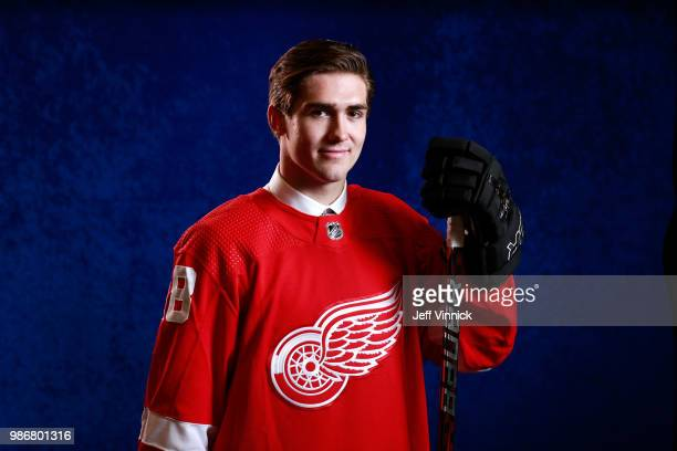 Filip Zadina poses for a portrait after being selected sixth overall by the Detroit Red Wings during the first round of the 2018 NHL Draft at...