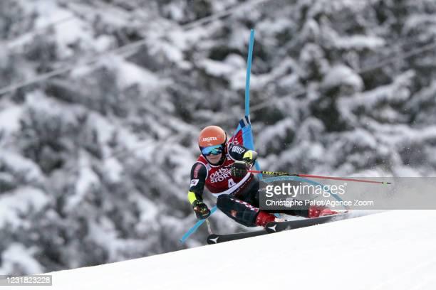 Filip Zubcic of Croatia in action during the Audi FIS Alpine Ski World Cup Men's Giant Slalom on March 20, 2021 in Lenzerheide, Switzerland.