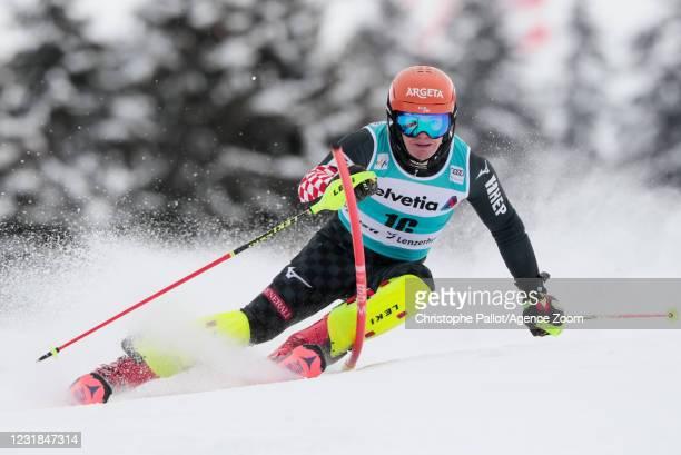 Filip Zubcic of Croatia in action during the Audi FIS Alpine Ski World Cup Men's Slalom on March 21, 2021 in Lenzerheide, Switzerland.