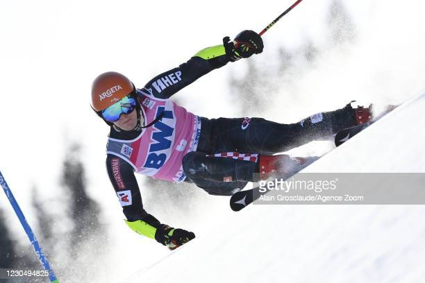 Filip Zubcic of Croatia takes 1st place during the Audi FIS Alpine Ski World Cup Men's Giant Slalom on January 9, 2021 in Adelboden Switzerland.