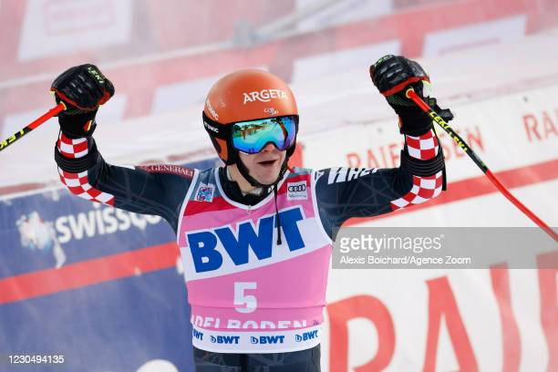 Filip Zubcic of Croatia takes 2nd place during the Audi FIS Alpine Ski World Cup Men's Giant Slalom on January 9, 2021 in Adelboden Switzerland.