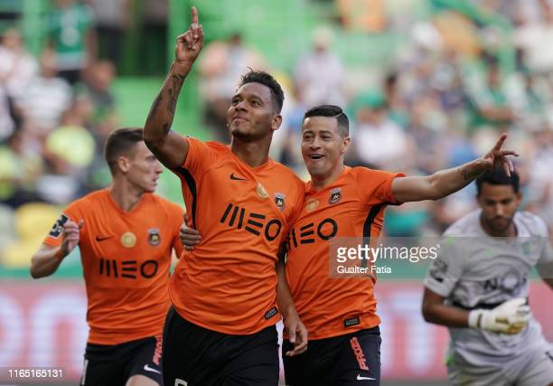 Filipe Augusto of Rio Ave FC celebrates after scoring a goal during the Liga NOS match between Sporting CP and Rio Ave FC at Estadio Jose Alvalade on...