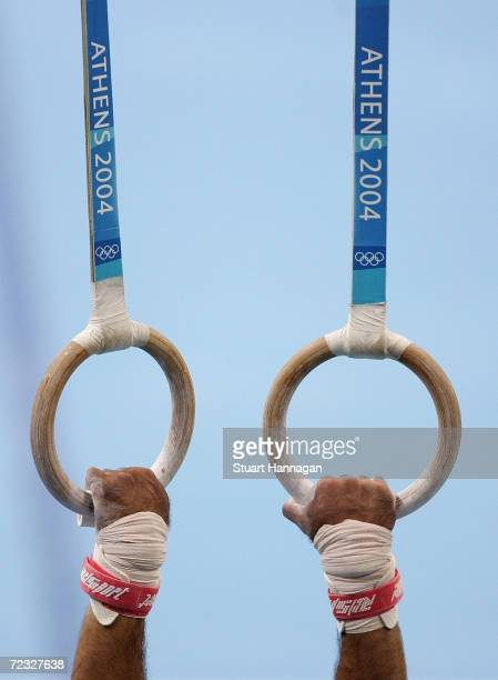 Filipe Bezugo of Portugal competes in the artistic gymnastics individual qualifications on August 14 2004 during the Athens 2004 Summer Olympic Games...