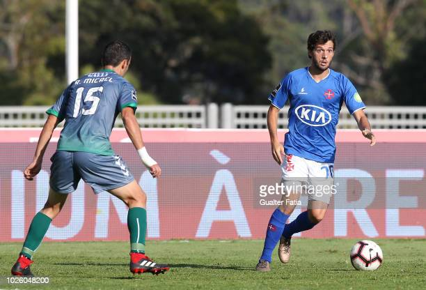 Filipe Chaby of Belenenses SAD in action during the Liga NOS match between Belenenses SAD and Vitoria FC at Estadio Nacional on September 1 2018 in...