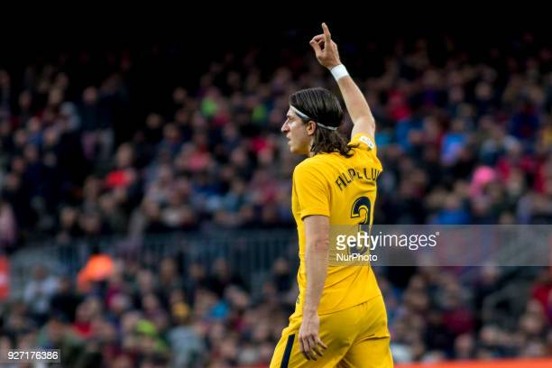 Filipe Luis during the spanish football league match between FC Barcelona and Atletico de Madrid at the Camp Nou Stadium in Barcelona Catalonia Spain...