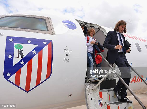 Filipe Luis of Athletico Madrid arrives at Lisbon airport prior to the UEFA Champions League Final between Real Madrid and Athletico Madrid at...