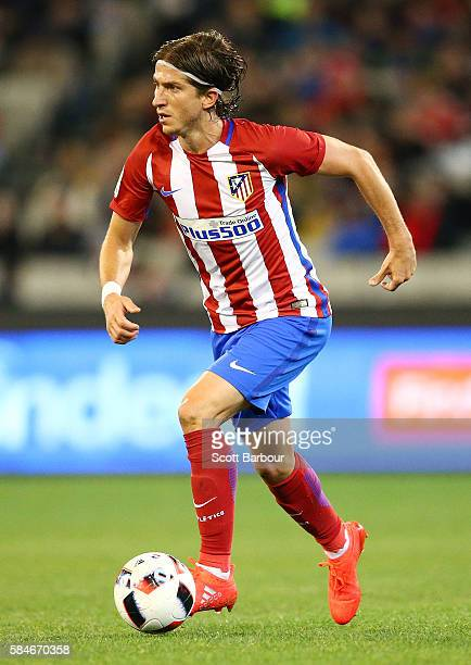 Filipe Luis of Atletico de Madrid controls the ball during 2016 International Champions Cup Australia match between Tottenham Hotspur and Atletico de...