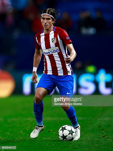 Filipe Luis of Atletico de Madrid controls the ball during the UEFA Champions League Group D match between Club Atletico de Madrid and FC Rostov at...