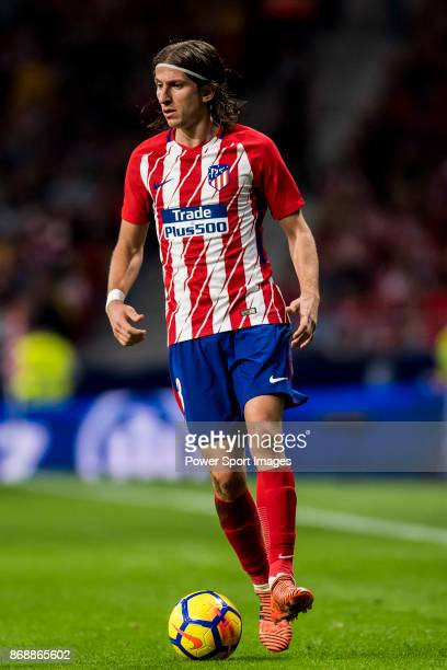 Filipe Luis of Atletico de Madrid in action during the La Liga 201718 match between Atletico de Madrid and Villarreal CF at Wanda Metropolitano on...