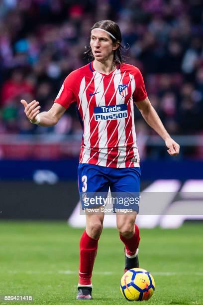 Filipe Luis of Atletico de Madrid in action during the La Liga 201718 match between Atletico de Madrid and Real Sociedad at Wanda Metropolitano on...