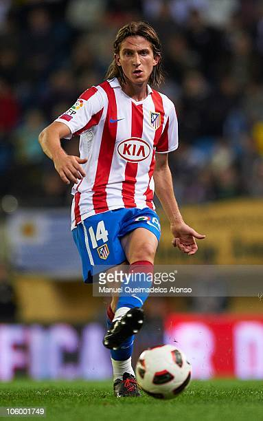 Filipe Luis of Atletico de Madrid in action during the La Liga match between Villarreal and Atletico de Madrid at El Madrigal on October 24 2010 in...