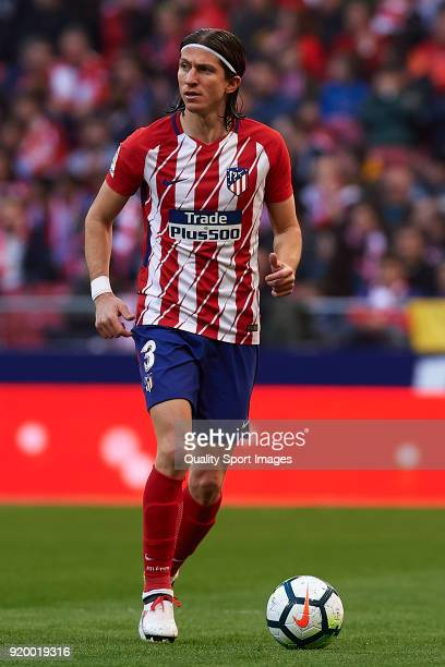 Filipe Luis of Atletico de Madrid in action during the La Liga match between Atletico Madrid and Athletic Club at Wanda Metropolitano on February 18...