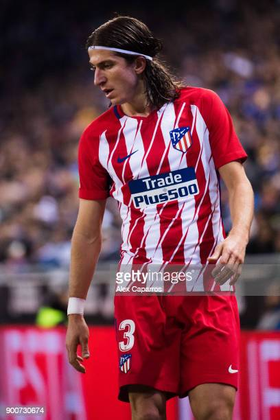 Filipe Luis of Atletico de Madrid looks down during the La Liga match between Espanyol and Atletico Madrid at RCDE Stadium on December 22 2017 in...