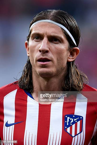 Filipe Luis of Atletico de Madrid looks on prior to the International Champions Cup match between Atletico de Madrid and FC Internazionale at Wanda...