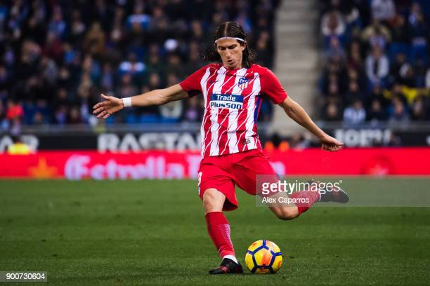 Filipe Luis of Atletico de Madrid plays the ball during the La Liga match between Espanyol and Atletico Madrid at RCDE Stadium on December 22 2017 in...