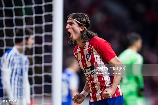 Filipe Luis of Atletico de Madrid reacts during the La Liga 201718 match between Atletico de Madrid and Real Sociedad at Wanda Metropolitano on...