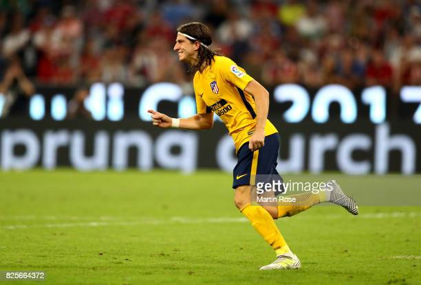 Filipe Luis of Atletico Madrid celebrates after he scores a goal during penalty shoot out during the Audi Cup 2017 match between Liverpool FC and...