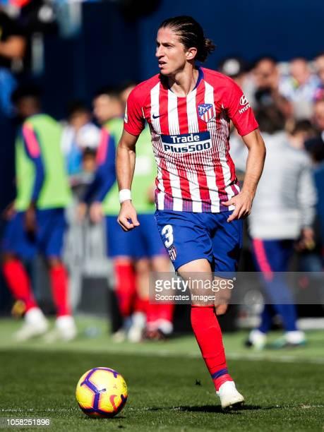 Filipe Luis of Atletico Madrid during the La Liga Santander match between Leganes v Atletico Madrid at the Estadio Municipal de Butarque on November...