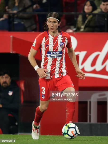 Filipe Luis of Atletico Madrid during the La Liga Santander match between Sevilla v Atletico Madrid at the Estadio Ramon Sanchez Pizjuan on February...