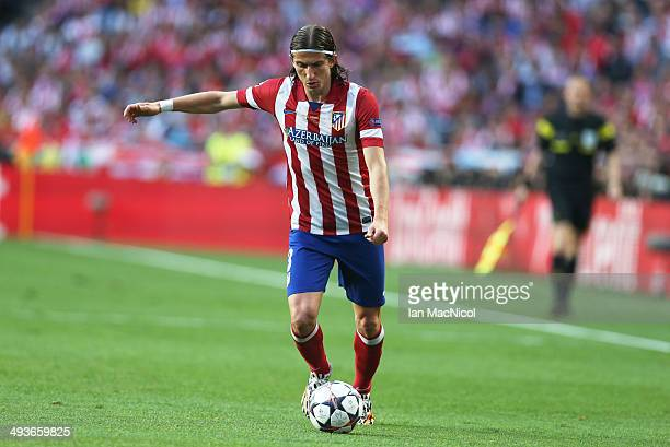 Filipe Luis of Atletico Madrid in action during the UEFA Champions League Final match between Real Madrid and Athletico Madrid at The Estadio da Luz...
