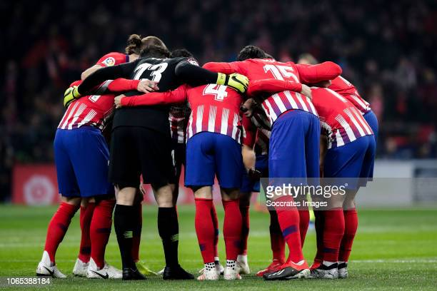 Filipe Luis of Atletico Madrid Lucas Hernandez of Atletico Madrid Jan Oblak of Atletico Madrid Santiago Arias of Atletico Madrid Savic of Atletico...