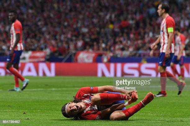 Filipe Luis of Atletico Madrid reacts during the UEFA Champions League group C match between Atletico Madrid and Chelsea FC at Estadio Wanda...