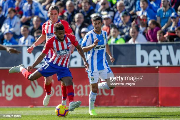 Filipe Luis of Atletico Madrid Thomas Lemar of Atletico Madrid Juanfran of Leganes during the La Liga Santander match between Leganes v Atletico...