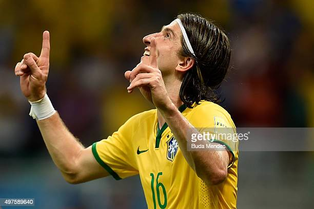 Filipe Luis of Brazil celebrate a scored goal during a match between Brazil and Peru as part of 2018 FIFA World Cup Russia Qualifiers at Arena Fonte...