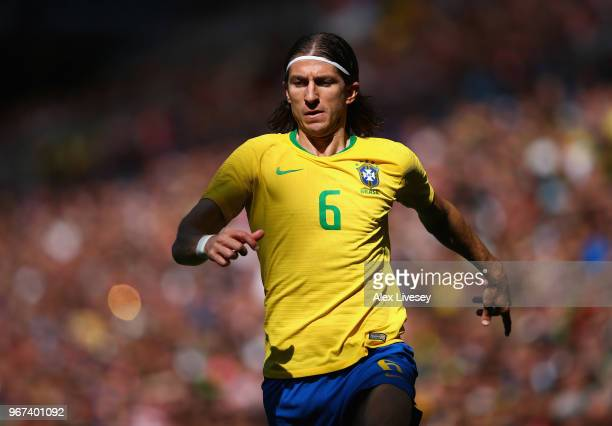 Filipe Luis of Brazil chases the ball during the International friendly match between of Croatia and Brazil at Anfield on June 3 2018 in Liverpool...