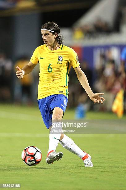 Filipe Luis of Brazil drives the ball during a group B match between Brazil and Haiti at Orlando Citrus Bowl as part of Copa America Centenario US...