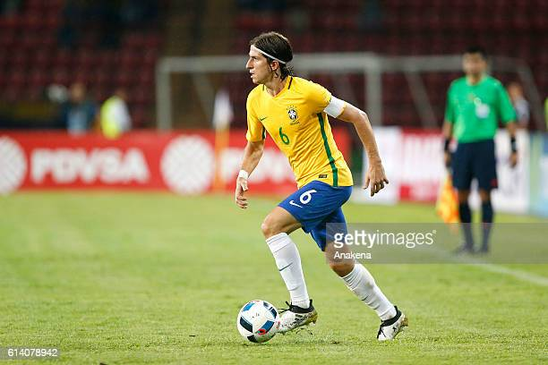 Filipe Luis of Brazil drives the ball during a match between Venezuela and Brazil as part of FIFA 2018 World Cup Qualifiers at Metropolitano Stadium...