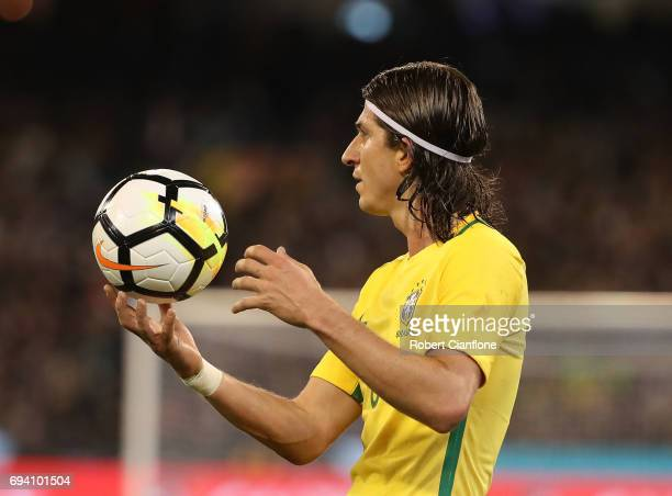 Filipe Luis of Brazil holds the ball during the Brazil Global Tour match between Brazil and Argentina at Melbourne Cricket Ground on June 9 2017 in...