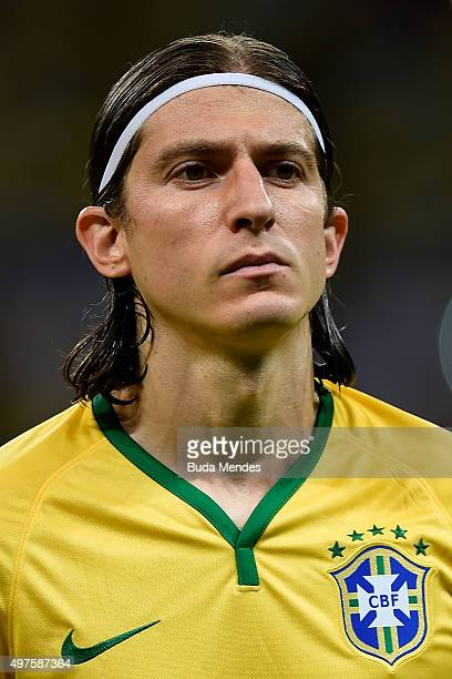 Filipe Luis of Brazil looks on before a match between Brazil and Peru as part of 2018 FIFA World Cup Russia Qualifiers at Arena Fonte Nova on...