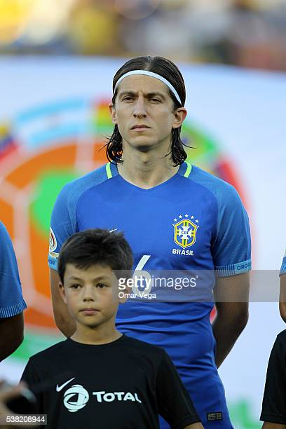 Filipe Luis of Brazil looks on during the anthem ceremony prior a group B match between Brazil and Ecuador at Rose Bowl as part of Copa America...