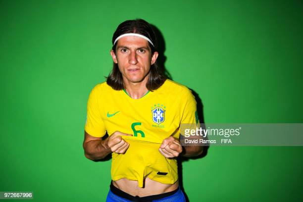 Filipe Luis of Brazil poses during the official FIFA World Cup 2018 portrait session at the Brazil Team Camp on June 12 2018 in Sochi Russia
