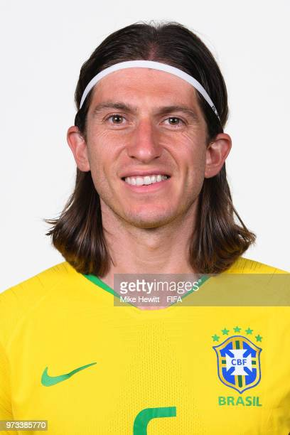 Filipe Luis of Brazil poses for a portrait during the official FIFA World Cup 2018 portrait session at the Brazil Team Camp on June 12 2018 in Sochi...