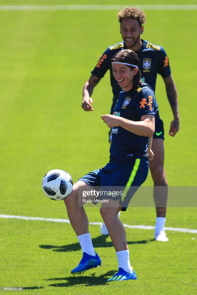 Filipe Luis of Brazil takes part during a Brazil training session ahead of the FIFA World Cup 2018 at Yug-Sport Stadium on June 12, 2018 in Sochi, Russia.