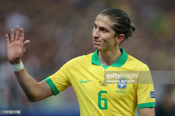 Filipe Luis of Brazil waves to the fans as he is substituted during the Copa America Brazil 2019 group A match between Peru and Brazil at Arena...