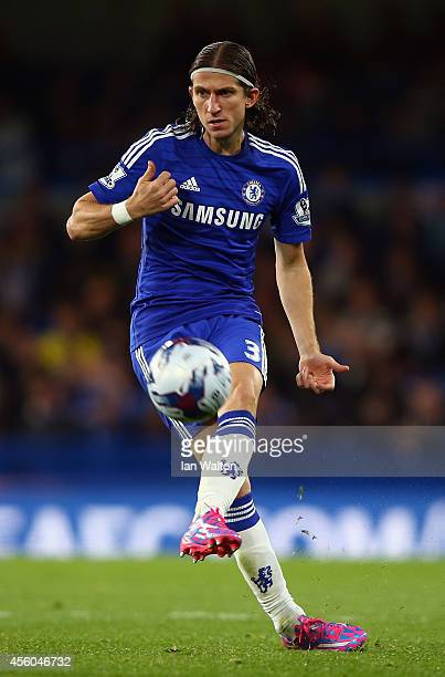 Filipe Luis of Chelsea during the Capital One Cup Third Round match between Chelsea and Bolton Wanderers at Stamford Bridge on September 24 2014 in...