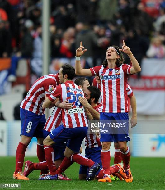 Filipe Luis of Club Atletico de Madrid celebrates after his team scored their 2nd goal during the La Liga match between Club Atletico de Madrid and...