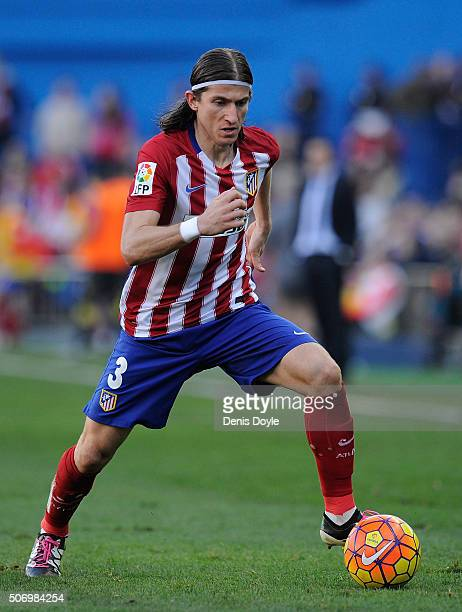 Felipe Luis of Club Atletico de Madrid in action during the La Liga match between Club Atletico de Madrid and Sevilla FC at Vicente Calderon Stadium...