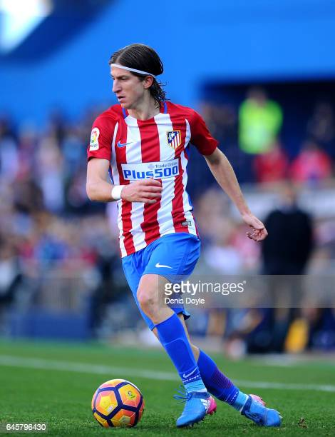 Felipe Luis of Club Atletico de Madrid in action during the La Liga match between Club Atletico de Madrid and FC Barcelona at Vicente Calderon...